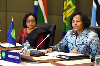 Minister Maite Nkoana-Mashabane with the SADC Executive Secretary, Dr Stergomena Lawrence Tax, at the commencement of the Ministerial Double Troika Meeting, Pretoria, South Africa, 3 July 2015.