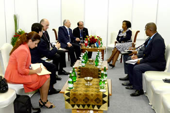 Minister Maite Nkoana-Mashabane meets with Foreign Minister Taieb Baccouche of Tunisia on the sidelines of the Asian African Conference, Jakarta, Indonesia, 23 April 2015.