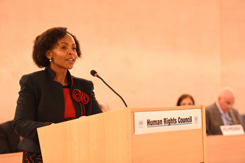 Minister Maite Nkoana-Mashabane delivers a statement at the High Level Segment of the United Nations Human Rights Council, Geneva, Switzerland, 3 March 2015.