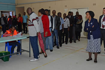 Minister Maite Nkoana-Mashabane as head of the SADC Observer Mission to Zambia, visits polling stations in the early morning as voters begin to cast their votes, Lusaka, Zambia, 20 January 2015.