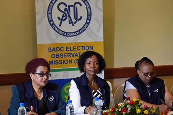 The Press Conference of the SADC Election Observer Mission (SEOM) to Zambia. From left to right: SADC Secretary, Dr Stergomena Tax; Minister Maite Nkoana-Mashabane and Deputy Minister Ellen Molekane, Lusaka, Zambia, 22 January 2015.