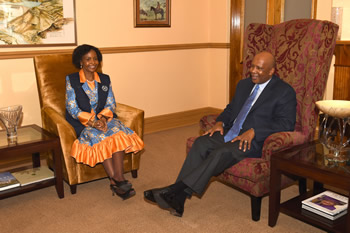 Minister Maite Nkoana-Mashabane pays a courtesy call on H E King Letsie III of Lesotho before the launch of the SADC Election Observer Mission (SEOM) in Maseru, Lesotho, 18 February 2015.