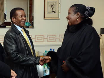 Deputy Chairperson, H. E. Luisa Diogo, of the African Union Foundation meets Director General, Ambassador Jerry Matjila, from DIRCO, at the African Union (AU) Summit Fundraising Initiative Dinner, Johannesburg, South Africa, 4 June 2015.