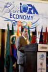 Prime Minister, Sir Anerood Jugnauth of Mauritius delivers his keynote address at the First Indian Ocean Rim Association (IORA) Ministerial Blue Economy Conference, Port Louis, Mauritius, 2-3 September 2015.