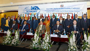 Group photo of the First Indian Ocean Rim Association (IORA) Ministerial Blue Economy Conference, Port Louis, Mauritius, 2-3 September 2015.
