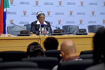 Deputy Minister Nomaindiya Mfeketo addresses the media during a Press Conference, Imbizo Media Centre, Parliament, Cape Town, South Africa, 9 September 2015.