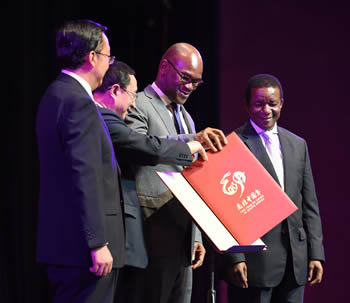 Minister of Arts and Culture, Mr Nati Mthethwa, and Minister Culture of China, Mr Luo Shugang, at the Grand Opening of the Year of China in South Africa, Pretoria, South Africa, 15 March 2015.