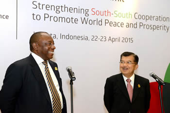 Deputy President Cyril Ramaphosa with Vice President Muhammad Jusuf Kalla of Indonesia during a Press Conference after their Bilateral Meeting, which took place on the sidelines of the Asian African Conference, Jakarta, Indonesia, 23 April 2015.