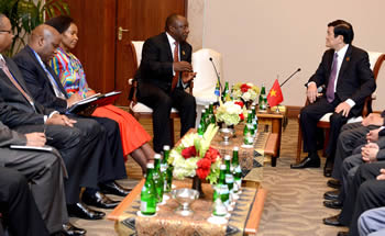 Deputy President Cyril Ramophosa during a Bilateral Meeting with Prime Minister Nguyễn Tấn Dũng of Vietnam on the sidelines of the Asian African Conference Commemoration, Jakarta, Indonesia, 22 April 2015.
