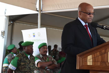 President Jacob Zuma at the African Union Closing Ceremony of the AMANI AFRICA II Field Training Exercise, SA Army Combat Training Centre, Lohatla, Northern Cape Province, South Africa, 8 November 2015.