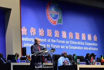 President Jacob Zuma delivers his Welcome Address during the Opening Session of the Johannesburg Summit of the Forum on China - Africa Cooperation (FOCAC), ICC in Sandton, Johannesburg, South Africa, 3 December 2015.