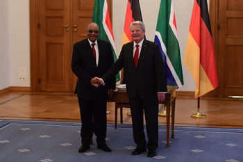 President Zuma pays a Courtesy Call on President Joachim Gauck of the Federal Republic of Germany at Schloss Bellevue during his State Visit to Berlin, Germany, 10 November 2015.