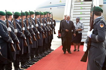 President Jacob Zuma and Mrs Zuma arrive in Berlin ahead of the Official Visit at the invitation of Her Excellency, Dr Angela Merkel, Chancellor of the Federal Republic of Germany, 9 November 2015.