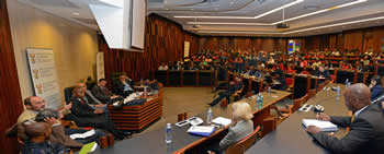 "Deputy Minister Luwellyn Landers with First Deputy Minister of Cuba, Mr Medina Gonzàlez, co-chairing a public lecture under the theme: ""SA-Cuba: 20-year celebration of formal bilateral cooperation"", University of Witwatersrand, Johannesburg, South Africa, 24 May 2016."