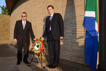 Deputy Minister of Luwellyn Landers with the First Deputy Minister of Cuba, Mr Medina Gonzàlez, during a Wreath-Laying Ceremony, Freedom Park, Pretoria, South Africa, 23 May 2016.