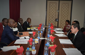 Meeting between Deputy Minister Luwellyn Landers and the Deputy Minister of Foreign Affairs of the Republic of Gabon, Mr Calixte Isidore Nsie Edang, Libreville, Gabon, 12 May 2016.