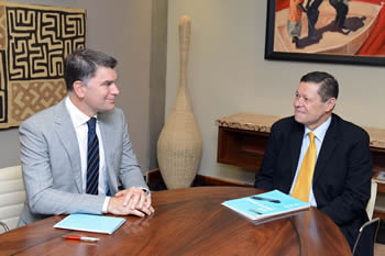 Meeting between Deputy Minister Luwellyn Landers and the Head of Regional Delegation, Pretoria - International Committee of the Red Cross, Mr Vincent Cassard, ahead of the Sixteenth Annual Regional Seminar on International Humanitarian Law to be held at the OR Tambo Building, Pretoria, South Africa, 22 August 2016.