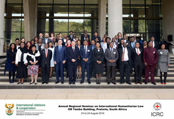 Group photograph of the participants of the Sixteenth Annual Regional Seminar on International Humanitarian Law, OR Tambo Building, Pretoria, South Africa, 23 August 2016.