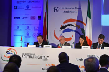 "Deputy Minister Luwellyn Landers and the Ambassador to the EU, Mr Marcus Cornaro, take part in the ""Revitalize growth in the changing global geo-economic scenario"" debate, Johannesburg, South Africa, 18-19 October 2016."