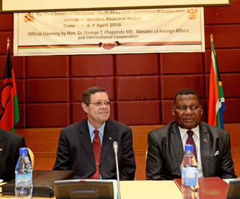 Deputy Minister Luwellyn Landers with the Foreign Minister of Malawi, Dr George Chaponda, during the South Africa - Malawi Joint Commission of Cooperation (JCC), Lilongwe, Malawi, 6-7 April 2016.