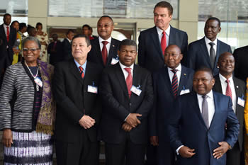 Group photograph of President Filipe Nyusi of Mozambique and the SADC Foreign Ministers of the Eighteenth Meeting of the SADC Ministerial Committee of the Organ (MCO) on Politics, Defence and Security Cooperation, Maputo, Mozambique, 5 August 2016.