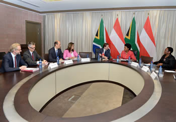 Minister Maite Nkoana-Mashabane with the Minister for Europe, Integration and Foreign Affairs of Austria, Mr Sebastian Kurz, Pretoria, South Africa, 24-26 October 2016.