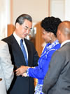 Minister Maite Nkoana-Mashabane is welcomed by the Foreign Minister of China, Mr Wang Yi, at the Tenth BRICS Ministers of Foreign Affairs Meeting, New York, USA, September 20, 2016.