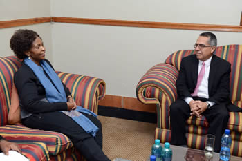 Minister Maite Nkoana-Mashabane receives a courtesy call from the First Deputy Minister of Cuba, Mr Medina Gonzàle, during his visit to Pretoria, South Africa, 21 May 2016.