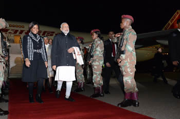 Arrival of Prime Minister Narendra Modi of the Republic of India. He is received by Minister Maite Nkoana-Mashabane, Waterkloof Air Force Base, Pretoria, South Africa, 7 July 2016.