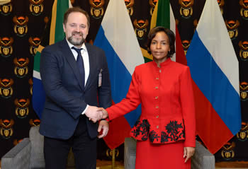 Minister Maite Nkoana-Mashabane during a one-on-one meeting with the Russian Minister of Natural Resources and Environment, Mr Sergey Donskoy, Pretoria, South Africa, 18 November 2016.