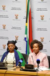 Minister Maite Nkoana-Mashabane addresses the media ahead of her Budget Vote. Seated next to her is Deputy Minister Nomaindiya Mfeketo and Director-General, Ambassador Jerry Matjila, Parliament, Cape Town, South Africa, 3 May 2016.