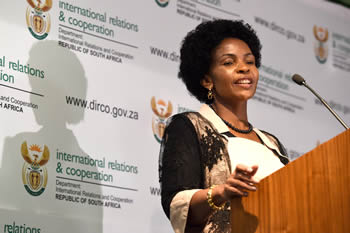 Minister Maite Nkoana-Mashabane briefs the media on international developments. The Minister discussed the SADC Summit held in Swaziland, the G20 Summit in China and upcoming events namely NAM, UNGA and BRICS, Pretoria, South Africa, 13 September 2016.