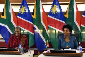 Minister Maite Nkoana-Mashabane with the Deputy Prime Minister and Minister of International Relations and Cooperation of Nambia, Ms Netumbo Nandi-Ndaitwah, during the Second Ministerial Session of the South Africa - Namibia Bi-National Commission (BNC), Pretoria, South Africa, 6-7 October 2016.