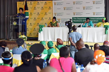 Minister Maite Nkoana-Mashabane delivers her keynote address at the Memorial Lecture of Charlotte Maxeke, Nirvana Community Hall, Polokwane, South Africa, 27 September 2016.