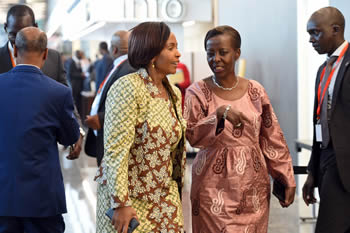Minister Maite Nkoana-Mashabane with Foreign Minister Louise Mushikiwabo of Rwanda, on their way to attend the Nepad Heads of State and Government Orientation Committee (HSGOC) Meeting, Kigali, Rwanda, 16 July 2016.
