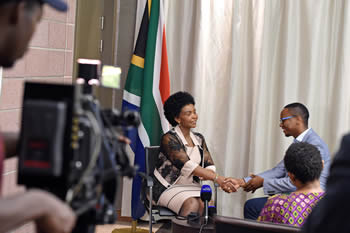 Minister Maite Nkoana-Mashabane is being interviewed by SABC on South Africa's withdrawal from the International Criminal (ICC), Pretoria, South Africa, 28 October 2016.
