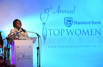 Minister Maite Nkoana-Mashabane delivers the Keynote Address at the Thirteenth Annual Top Woman Awards Ceremony, Emperors Palace, Kempton Park, South Africa, 18 August 2016.