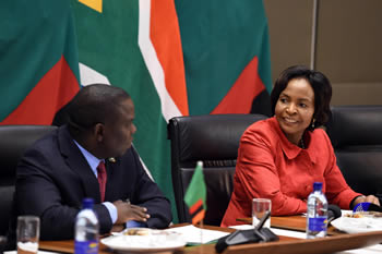 Minister Maite Nkoana-Mashabane with the Foreign Minister of Zambia, Mr Harry Kalaba, during the South Africa - Zambia Joint Commission of Cooperation (JCC), Pretoria, South Africa, 7 December 2016.