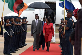 Minister Maite Nkoana-Mashabane receives the President of Zambia, Mr Edgar Lungu, at the Waterkloof Air Force Base ahead of his State Visit to Pretoria, South Africa, 7 December 2016.