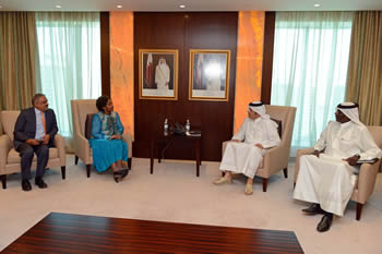 Minister Maite Nkoana-Mashabane meets with the Foreign Minister of Qatar, Sheikh Mohammed bin Abdul Rahman Al-Thani, before the commencement of the State Visit of President Jacob Zuma to Doha, State of Qatar, 19 May 2016.