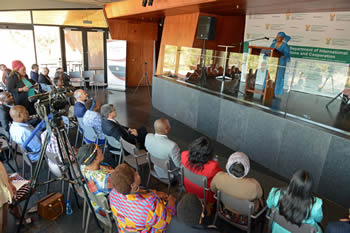 Deputy Minister Nomaindiya Mfeketo delivers a lecture to mark the 90th birthday of Fidel Castro and the end of Women's Month, Freedom Park, Salvokop, Pretoria, South Africa, 30 August 2016.