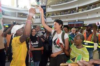 South African activist, Leigh Ann Naidoo, is released after being detained by Israeli authorities while traveling on the Women's Boat to Gaza, which sought to peacefully end the Israeli blockade of Gaza. The South African Ambassador, Sisa Ngombane, accompanied her on the flight back and also during a Press Conference held after her arrival, Johannesburg, South Africa, 7 October 2016.