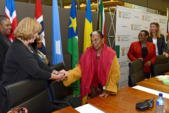 Ms Gertrude Shope attends the Annual Dialogue Forum on Conflict Resolution and Peace-Making hosted by the Department of International Relations and Cooperation. Greeting Ambassador Lena Sundh from Sweden, Pretoria, South Africa, 11 August 2016.