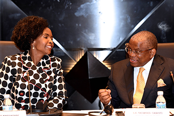 Minister Nkoana-Mashabane with Minister Georges Robelo Chikoti of Angola at the opening of the Fourth Session of the South Africa - Angola Joint Commission for Cooperation (JCC), Luanda, Angola, 14 July 2017.