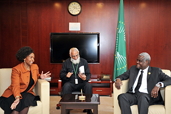 Minister Maite Nkoana-Mashabane meets the Chairperson of the African Union (AU) Commission, His Excellency Moussa Faki Mahamat, at the AU Headquarters on the sidelines of the 29th Session of the Assembly of Heads of State and Government of the African Union (AU), Addis Ababa, Ethiopia, 4 July 2017.