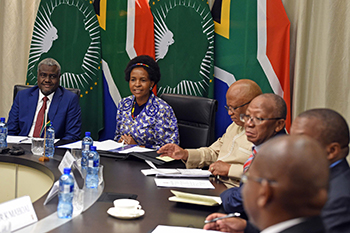 Minister Maite Nkoana-Mashabane meets with the Chairperson of the African Union Commission, Mr Moussa Faki Mahamat, Pretoria, South Africa, 30 October 2017.