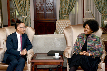 Minister Maite Nkoana-Mashabane receives a Courtesy Call from the Assistant Minister of Foreign Affairs of China, Mr Chen Xiaodong, Pretoria, South Africa, 21 August 2017.