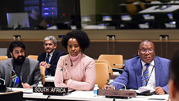 Minister Maite Nkoana-Mashabane attends the Ministerial Meeting of the India, Brazil and South Africa (IBSA) Forum, on the sidelines of the UN General Assembly, UN Headquarters, New York, USA, 21 September 2017.