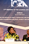 Minister of International Relations and Cooperation and Chair of the IORA Council of Ministers, Maite Nkoana-Mashabane, at the opening of the IORA 17th Council of Ministers' Meetings 2017, Durban, South Africa, 18 October 2017.