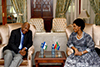 Minister Maite Nkoana-Mashabane receives a Courtesy Call from the Minister of Foreign Affairs and International Relations of the Kingdom of Lesotho, Mr Lesego Makgothi, Pretoria, South Africa, 23 October 2017.